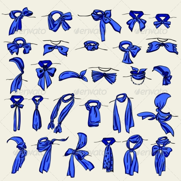 Set of Different Neckerchiefs  - Web Elements Vectors