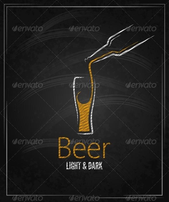 Beer Glass Chalkboard Menu Background - Food Objects