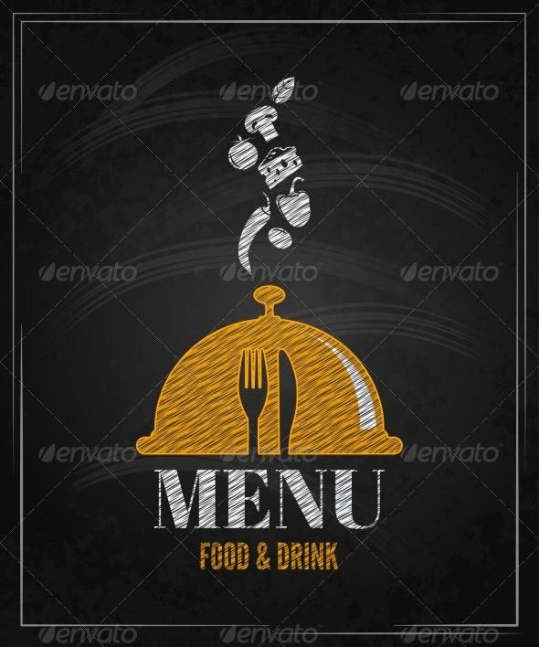 Menu Board Chalk Design Background - Food Objects