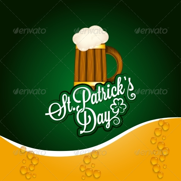 Patrick Day Beer Mug Vintage Background - Miscellaneous Seasons/Holidays