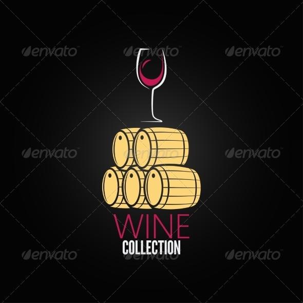 Wine Glass Cellar Barrel Design Background - Food Objects