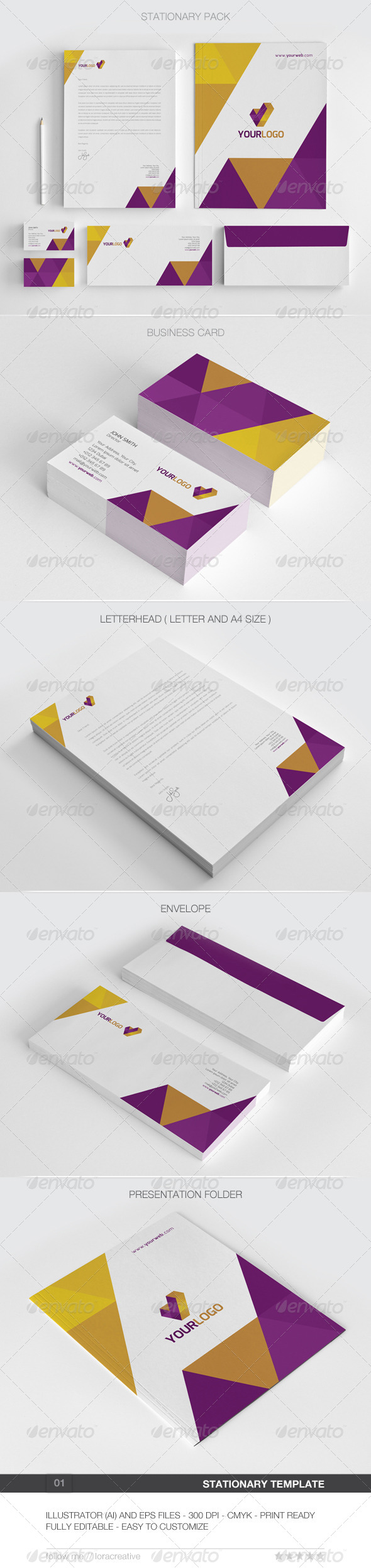 Modern Stationary Pack - 01 - Stationery Print Templates