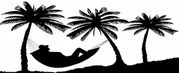 Loui relaxing of hammock under the palm trees on beach%202