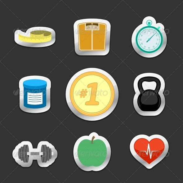 Healthy Fitness Lifestyle Stickers - Sports/Activity Conceptual