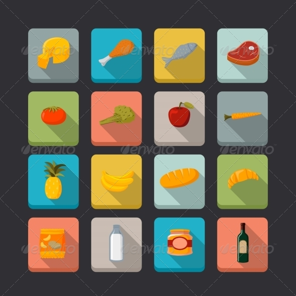 Supermarket Food Icons Set - Food Objects