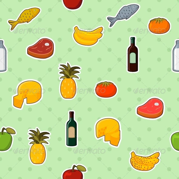 Supermarket Foods Seamless Pattern - Backgrounds Decorative