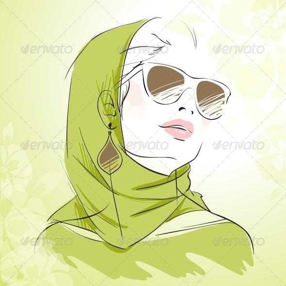 Spring Fashion Girl Portrait in Green Colors - People Characters