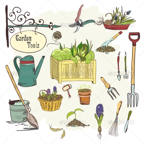 Set of Gardening Tools - Web Elements Vectors