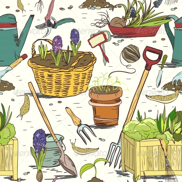 Seamless Gardening Tools Pattern Background - Flowers & Plants Nature
