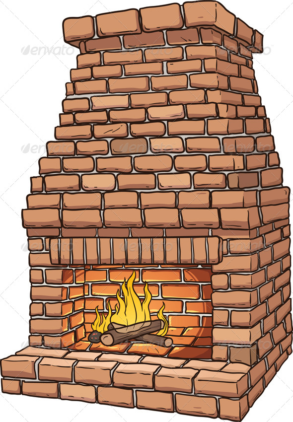 Brick Fireplace - Man-made Objects Objects