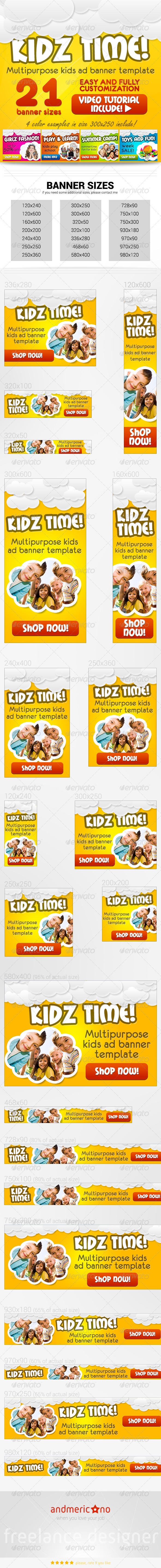 Kids Banners Set - Banners & Ads Web Elements