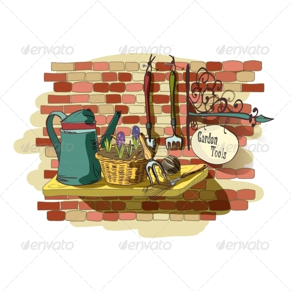 Hand Drawn Still Life of Gardening Tools - Decorative Symbols Decorative