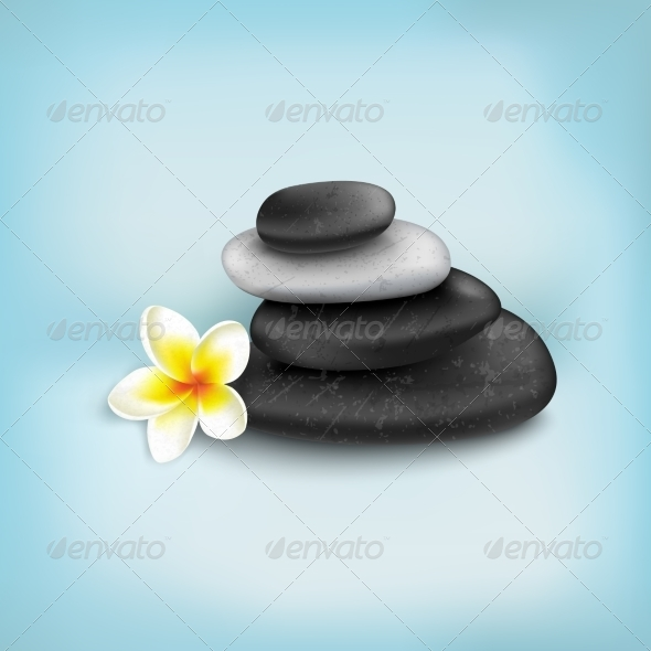 Spa Stones with Exotic Tropical Flower - Decorative Symbols Decorative