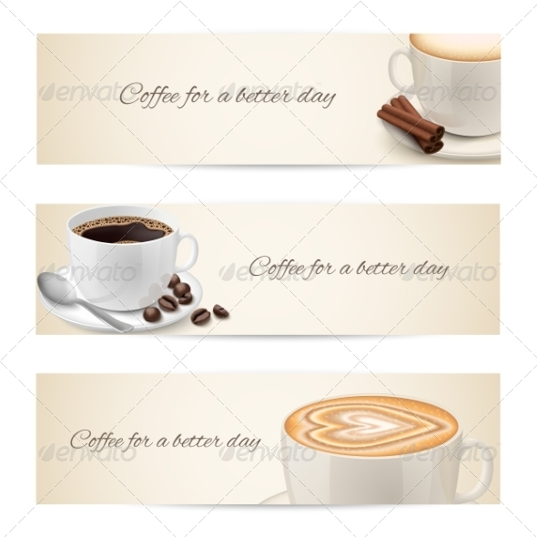 Collection of Banners with Coffee Cups - Concepts Business