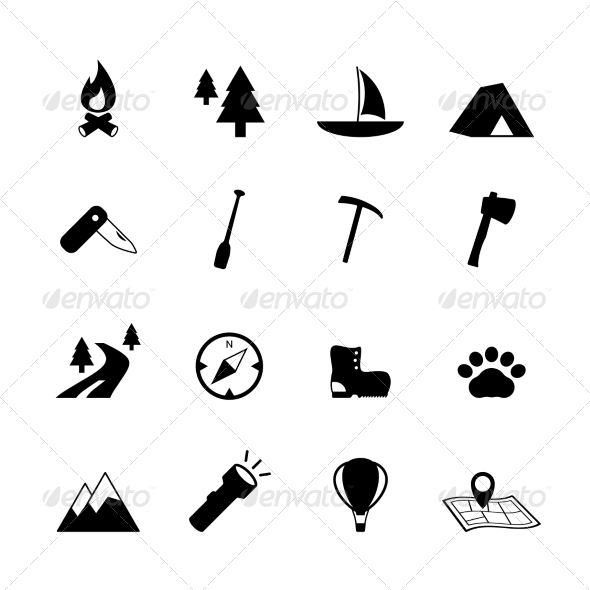 Outdoors Tourism Camping Pictograms - Travel Conceptual