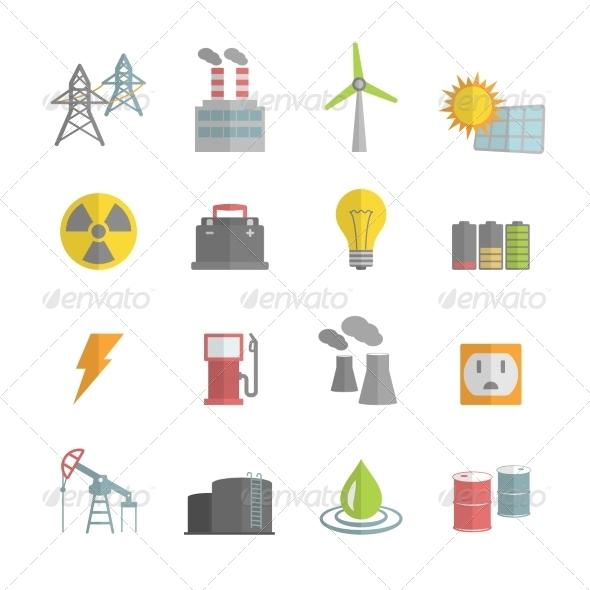 Energy Power Flat Icons Set - Technology Icons
