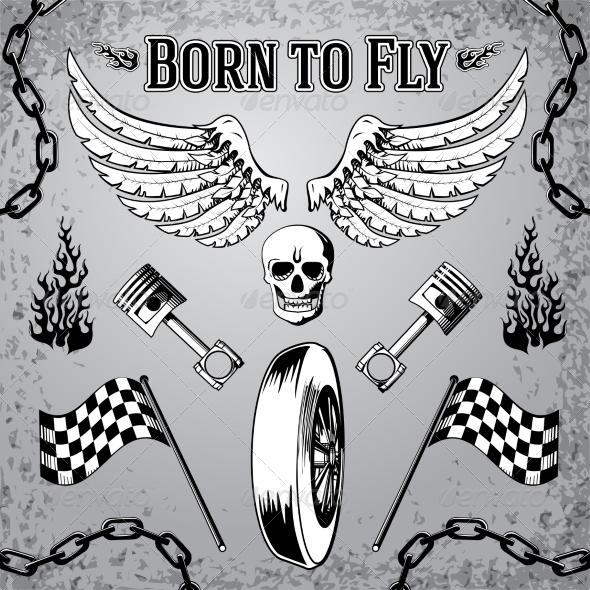 Motorcycle Grunge Design Elements - Decorative Symbols Decorative