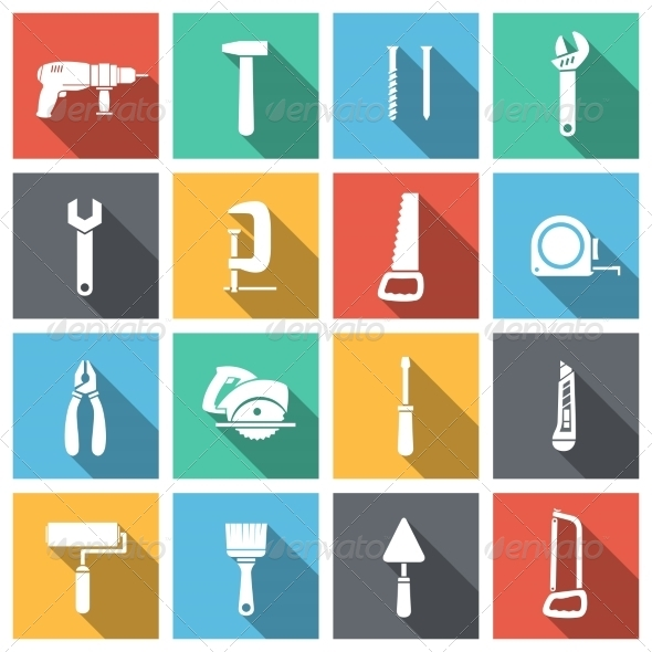 Tools Flat Icons Set - Web Icons