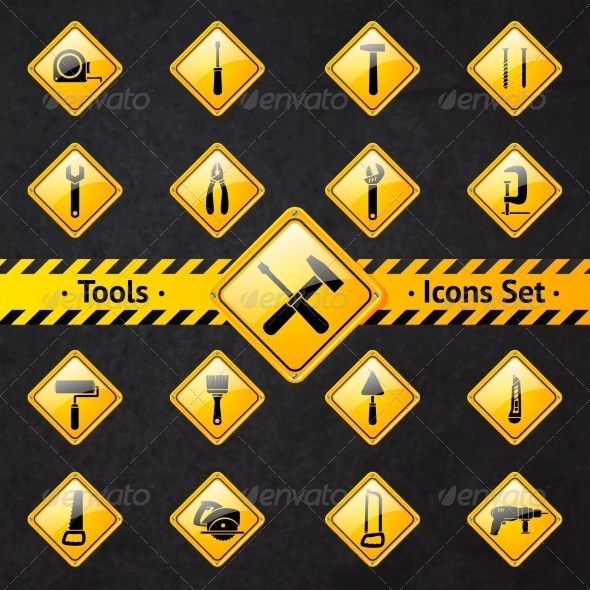 Toolbox Attention Yellow and Black Signs - Industries Business