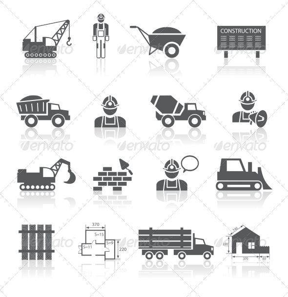 Construction Pictograms Collection - Web Elements Vectors