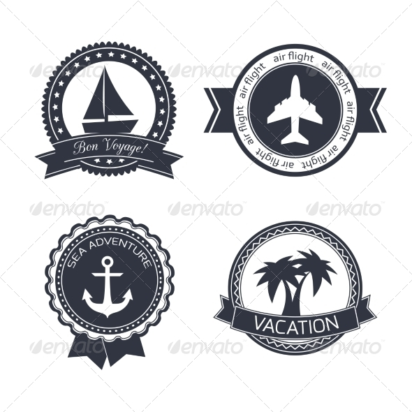 Vacations Travel Stickers Set - Travel Conceptual