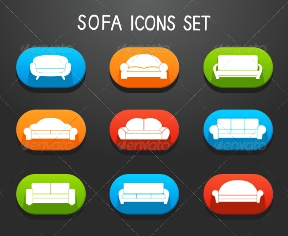 Sofas and Couches Furniture Icons Set - Web Icons