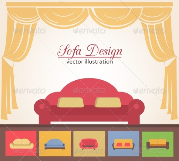 Sofa or Couch Design Poster Elements - Backgrounds Decorative