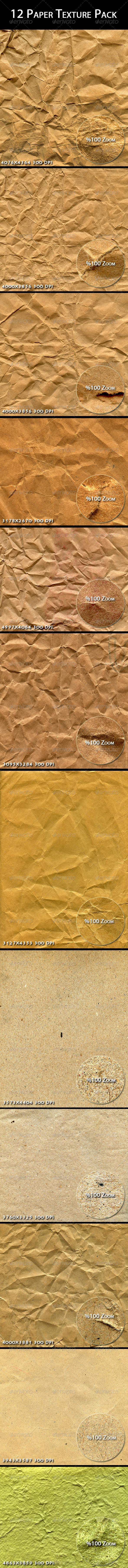 12 Paper Texture Pack - Paper Textures