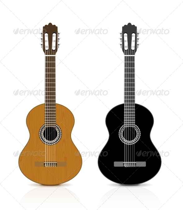 Classical Guitar on White Background - Man-made Objects Objects
