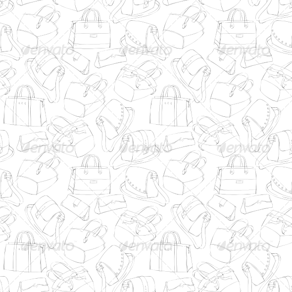 Seamless Women's Bags Sketch - Backgrounds Decorative