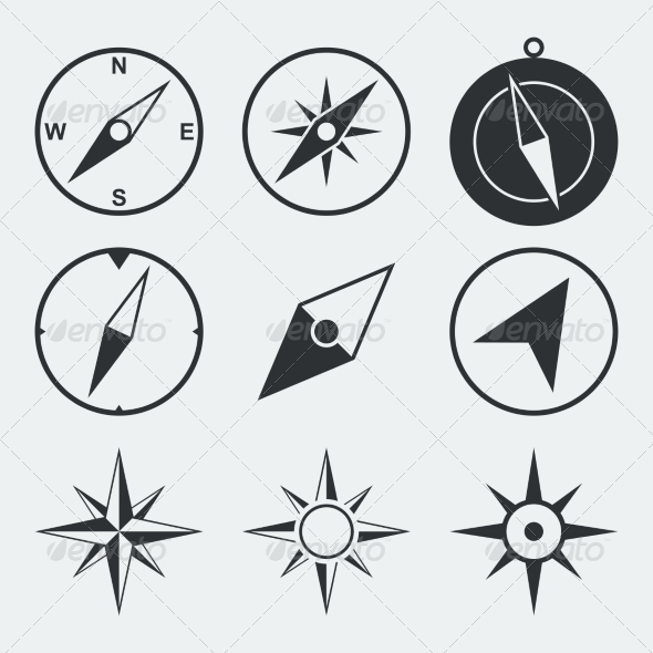 Navigation Compass Flat Icons Set - Web Elements Vectors