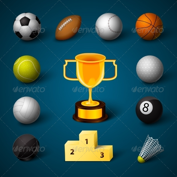 Sports Realistic Icons Set - Sports/Activity Conceptual