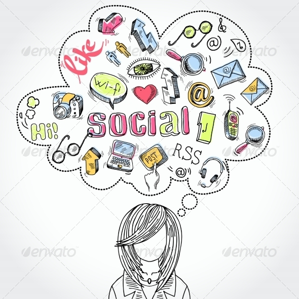Doodle Social Media Dreams and Thoughts - Communications Technology