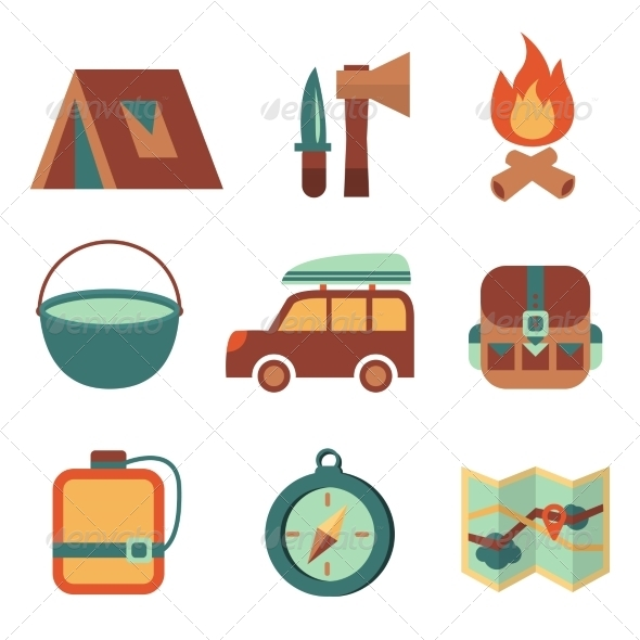 Outdoors Tourism Camping Flat Icons Set - Travel Conceptual