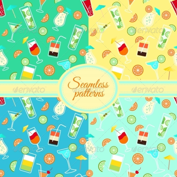 Collection of Seamless Patterns with Cocktail Drinks - Patterns Decorative