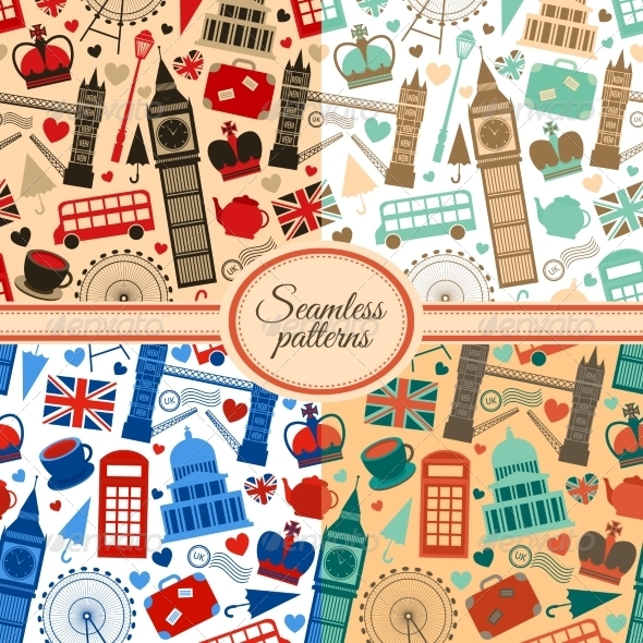 Collection of Seamless Patterns with London - Patterns Decorative