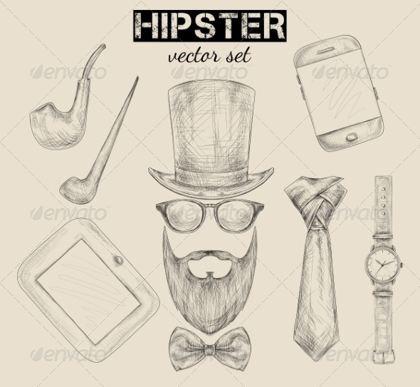 Hand Drawn Hipster Accessories Set - Retail Commercial / Shopping