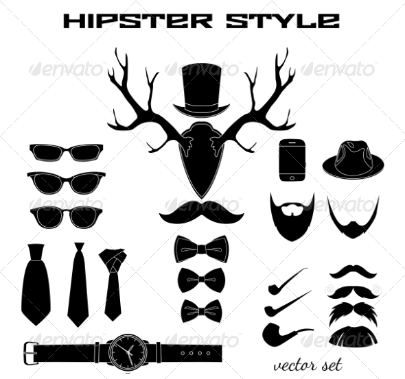 Hipster Accessory Pictograms Collection - Web Elements Vectors