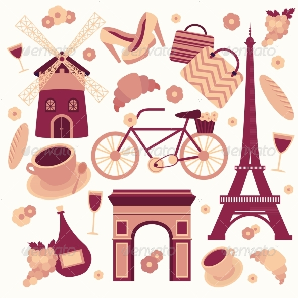 Paris Symbols Collection - Travel Conceptual