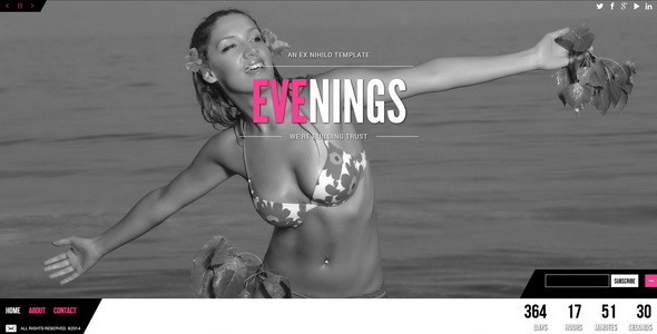 Evenings || Responsive Coming Soon Page - Under Construction Specialty Pages