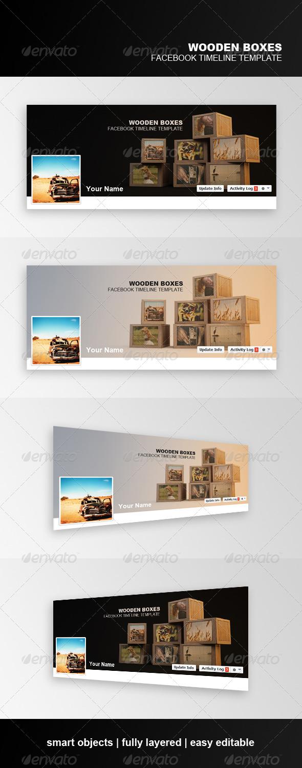Wooden Boxes Facebook Timeline Template - Facebook Timeline Covers Social Media