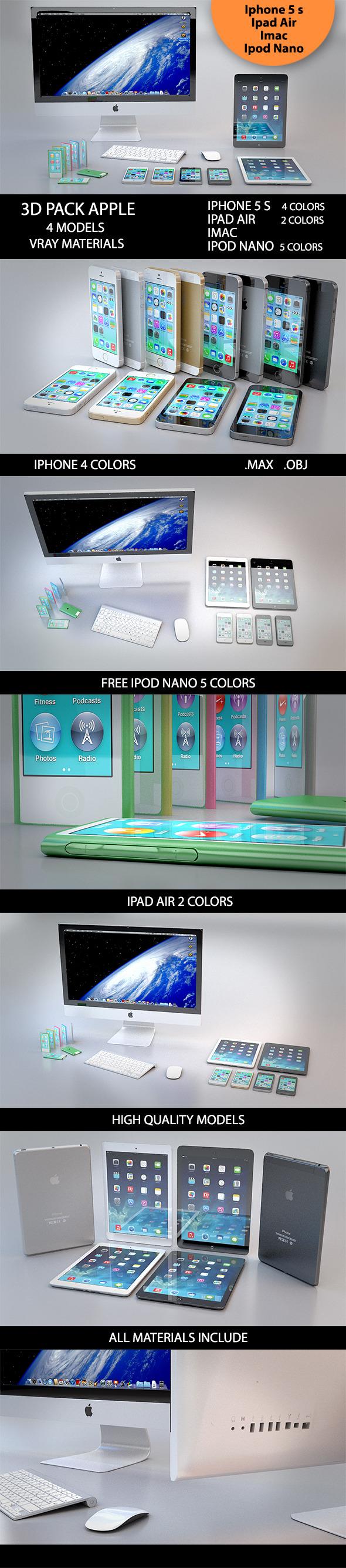 3D Pack Apple - 3DOcean Item for Sale