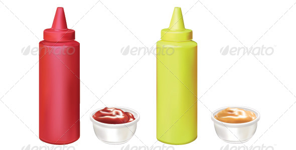 Mustard and Ketchup - Food Objects