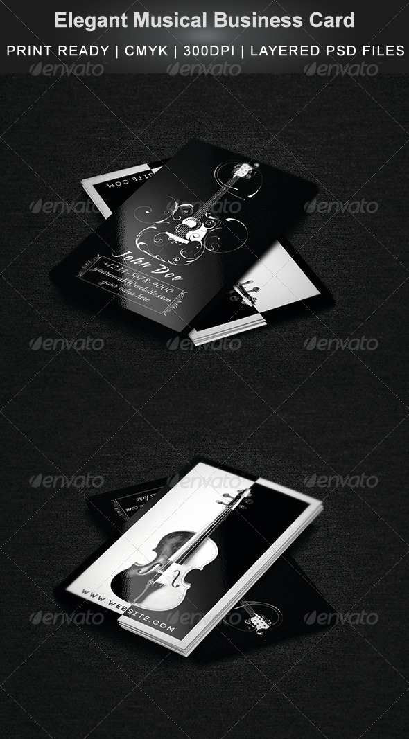 Elegant Musical Business Card - Business Cards Print Templates