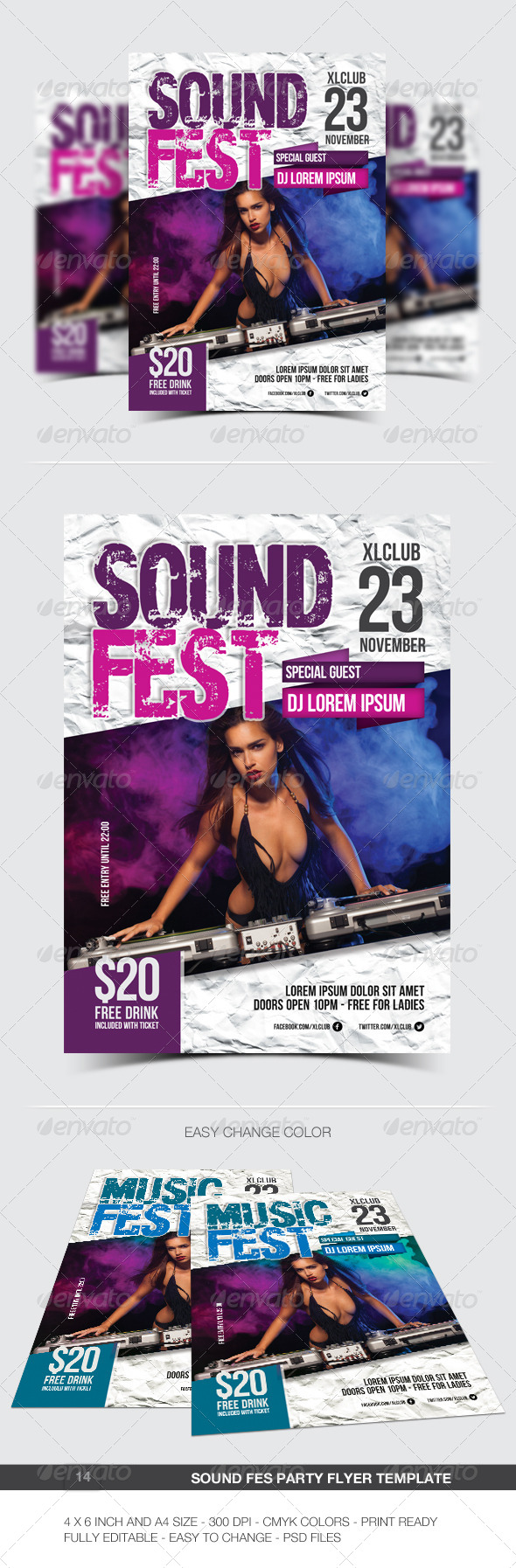 Sound Fest Party Flyer / Poster - 14 - Clubs & Parties Events