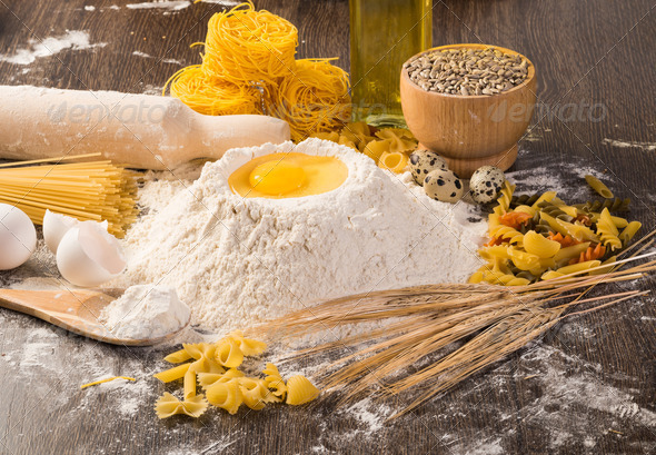 flour, eggs, wheat still-life - Stock Photo - Images