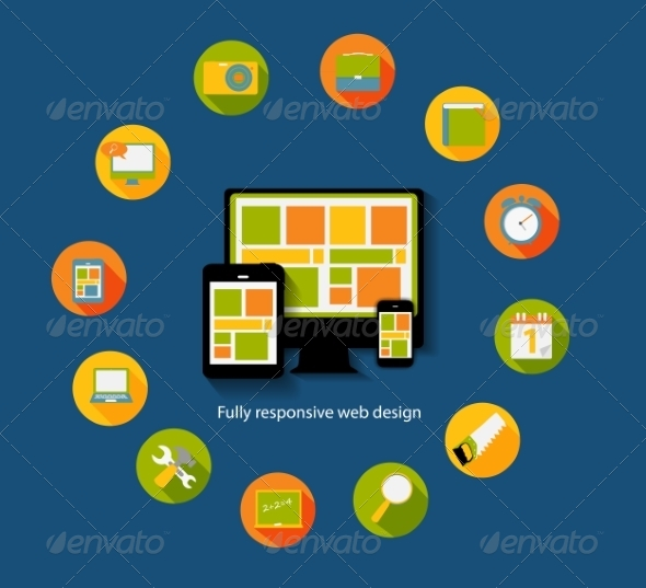Modern Flat Icon Set for Web and Mobile Application - Web Technology