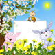 Animals with a Poster Against Flowers - GraphicRiver Item for Sale