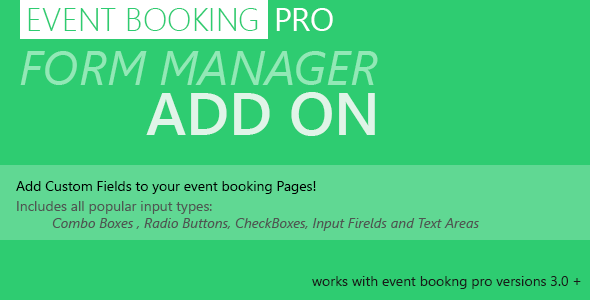 Event Booking Pro: Forms Manager Add on - CodeCanyon Item for Sale