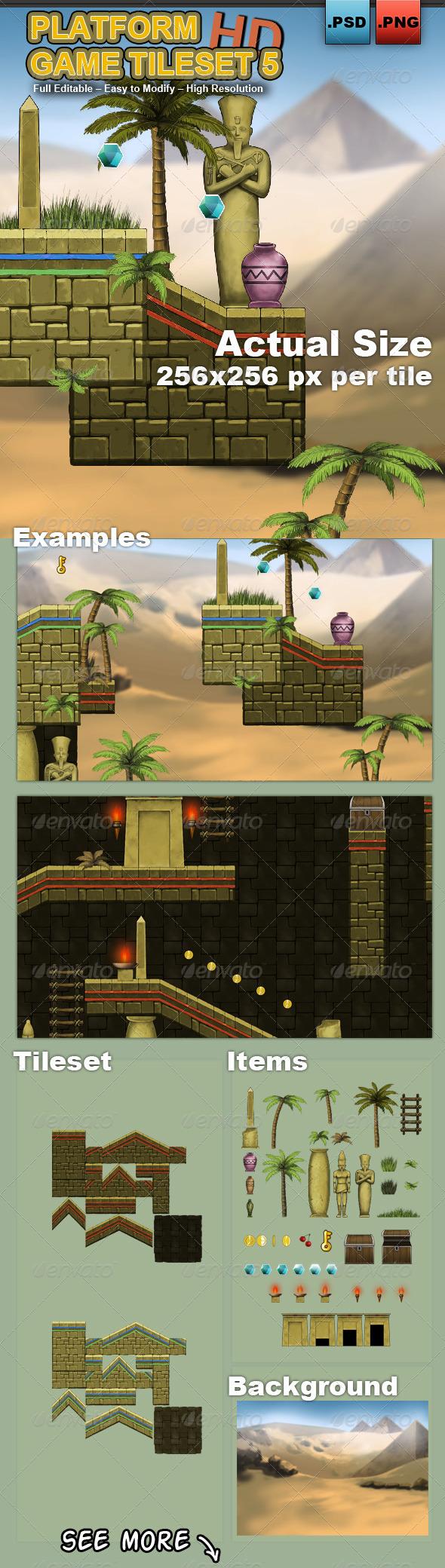 Platform Game Tileset 5: Egyptian Temple - Tilesets Game Assets